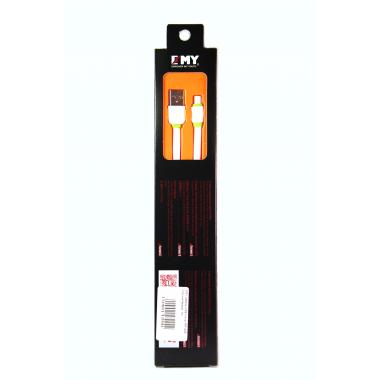 Кабель micro USB  EMY MY-445 плоский белый, 1м