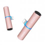 Аудио адаптер Hoco LS7 Lightning/Lightning для iPhone, цвет розовый