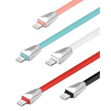 USB-кабель для iPad/iPhone 5/6 Hoco X4 Zinc Alloy, плоский черный, 1.2 м