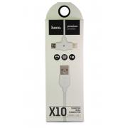 Универсальный кабель micro USB + iPhone 5 Hoco X10, силиконовый, белый, 1 метр