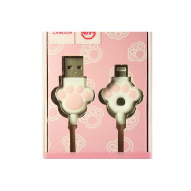 """USB-кабель Lightning Joyroom S-M125 """"Кошачья лапка"""", тканевая обмотка, бело-розовый"""