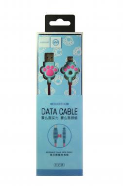 """USB-кабель Lightning Joyroom S-M125 """"Кошачья лапка"""", тканевая обмотка, розово-голубой"""