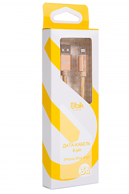 Кабель для iPhone Ubik UL09, нейлоновая обмотка,  золотой