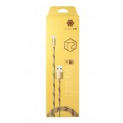 Кабель для iPad/iPhone 5/6 Zeceen Т2, в тканевой обмотке золотой,1 м