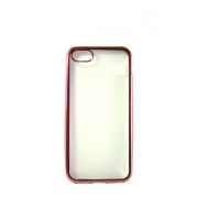Прозрачный силиконовый чехол с розовым бампером для iPhone 5