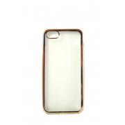 Прозрачная силиконовая накладка с золотым бампером для iPhone 5