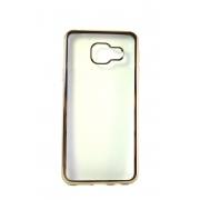 Прозрачная силиконовая накладка с золотым бампером для Samsung A3 2016 (A310)