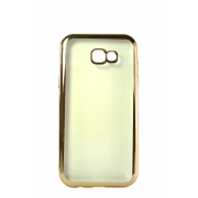 Прозрачный силиконовый чехол с золотым бампером для Samsung A3 2017 (A320)
