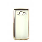 Прозрачный силиконовый чехол с золотым бампером для Samsung G530