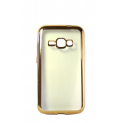 Прозрачный силиконовый чехол с золотым бампером для Samsung J1 2016 (J120)