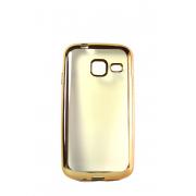 Прозрачный силиконовый чехол с золотым бампером для Samsung J1 mini (J105)