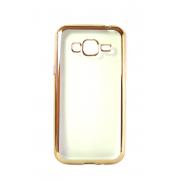 Прозрачный силиконовый чехол с золотым бампером для Samsung J3 2016
