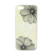 Силиконовая накладка Colorful life для iPhone 5/5s Черные цветы