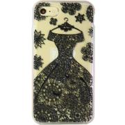 Силиконовый чехол Face idea для iPhone 7 Черное кружевное платье