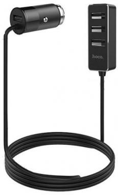 Автомобильный разветвитель на 4 USB, Hoco Z17B, черный