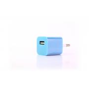 Сетевое зарядное устройство для iPhone 1USB голубой