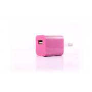 Сетевое зарядное устройство для iPhone 1USB розовый