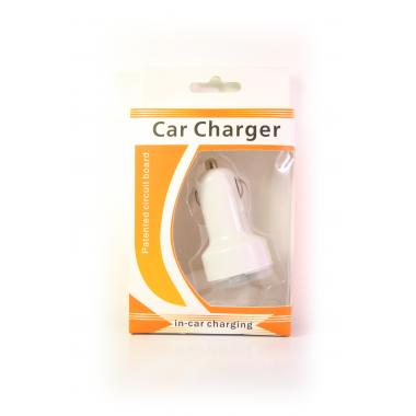 Автомобильное зарядное устройство (1000 и 2100 mA + 2 USB) белый