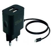 Сетевое зарядное устройство Ubik UHS22L с встроенным кабелем Lightning (2100 mA + 2 USB), цвет черный
