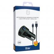 Автомобильное зарядное устройство Ubik UCP23M с кабелем micro USB (3.4A + 2 USB), цвет черный