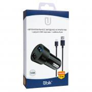 Автомобильное зарядное устройство Ubik UCP23L с кабелем iPhone (3.4A + 2 USB), цвет черный