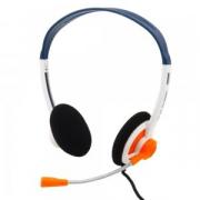 Компьютерная гарнитура Komc KM-420 бело-оранжевые с микрофоном