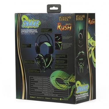 Компьютерная гарнитура SmartBuy RUSH SNAKE черно-зеленый с микрофоном