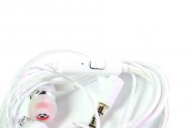 Наушники Walker H520 гарнитура белые (с микрофоном и кнопкой ответа) матерчатый провод, угловой разъем