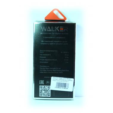 """Наушники Walker H720 """"Металл"""" гарнитура золотые (с микрофоном и кнопкой ответа) матерчатый провод"""