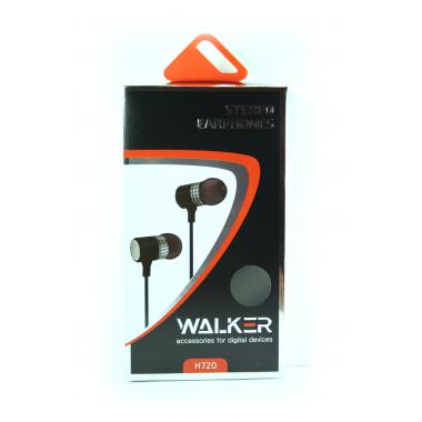 """Наушники Walker H720 """"Металл"""" гарнитура серые (с микрофоном и кнопкой ответа) матерчатый провод"""