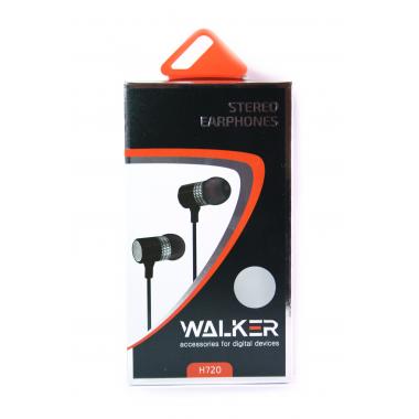 """Наушники Walker H720 """"Металл"""" гарнитура серебряные (с микрофоном и кнопкой ответа) матерчатый провод"""