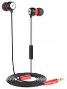 Наушники Hoco EPM01 вставные (затычки) с микрофоном, цвет красный