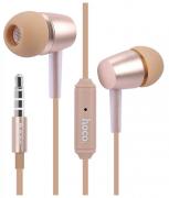 Наушники Hoco M10 вставные (затычки) с микрофоном, цвет золотистый
