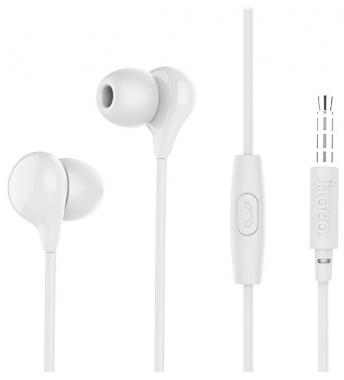 Наушники Hoco M13 вставные (затычки) белые с микрофоном и кнопкой ответа