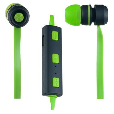 Наушники блютуз Perfeo Sound Strip гарнитура (с микрофоном и кнопкой ответа) черно-зеленые