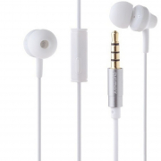 Наушники Remax RM-501 вставные (затычки) с микрофоном, цвет белый