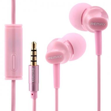 Наушники Remax RM-501 вставные (затычки) с микрофоном, цвет розовый