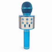 Микрофон караоке беспроводной WS-858, цвет голубой