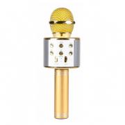 Микрофон караоке беспроводной WS-858, цвет золотой