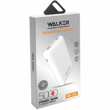 Внешний аккумулятор Walker WB-305, 5000 мАч, белый